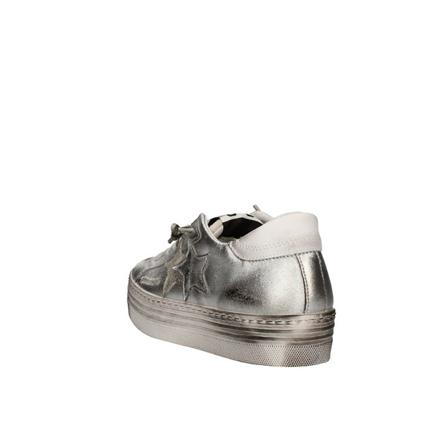 2star Shoes Woman With Wedge Silver 2SD3062